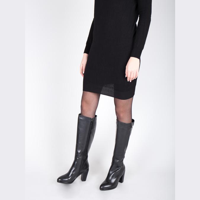 Kožené kozačky pro širší lýtka bata, černá, 694-6635 - 18