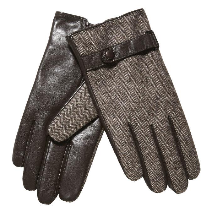 Pánské rukavice s páskem bata, hnědá, 909-4297 - 13