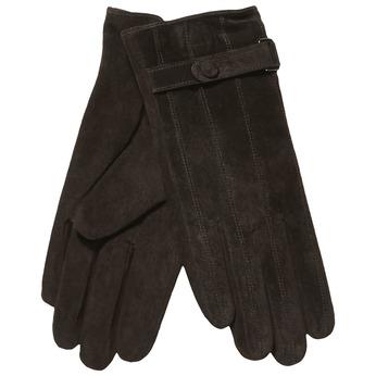 Kožené dámské rukavice s páskem bata, hnědá, 903-4100 - 13