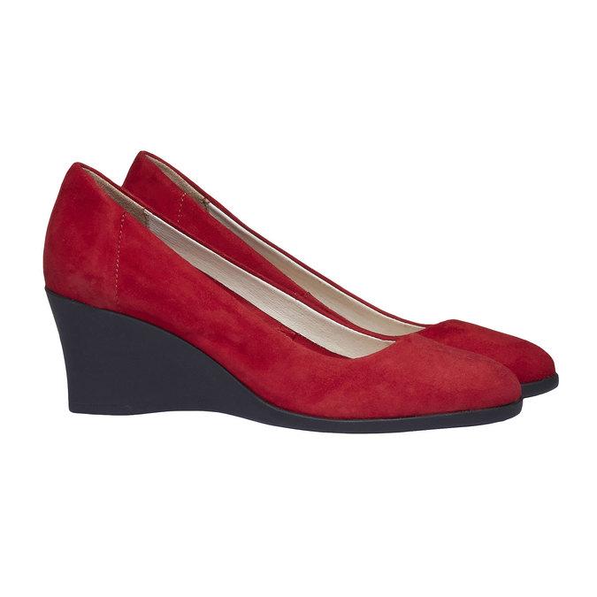 Kožené lodičky na klínovém podpatku flexible, červená, 623-5395 - 26