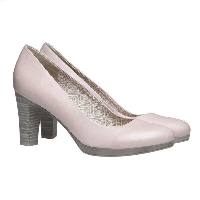 Kožené lodičky na širokém podpatku bata, růžová, 724-5948 - 26