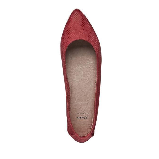 Kožené baleríny s perforací bata, červená, 526-5486 - 19