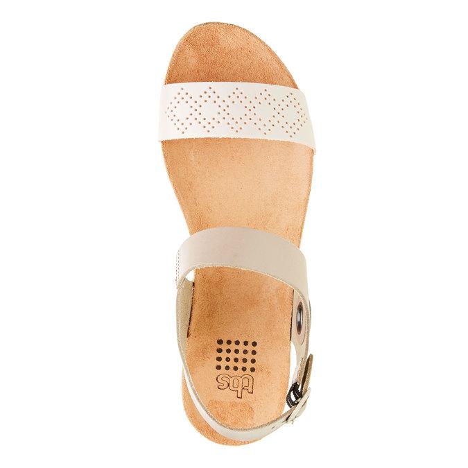 Kožené sandály s perforovaným páskem tbs-, béžová, 564-3012 - 19