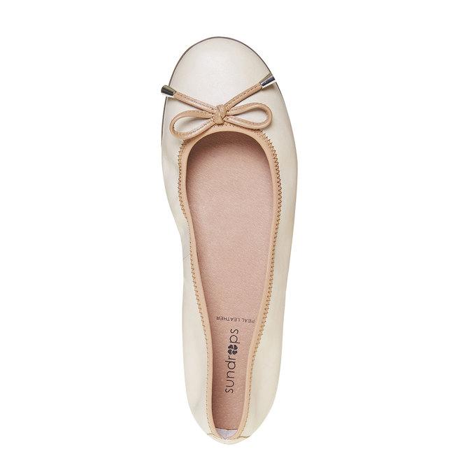 Dámské kožené baleríny bata, béžová, 524-8485 - 19