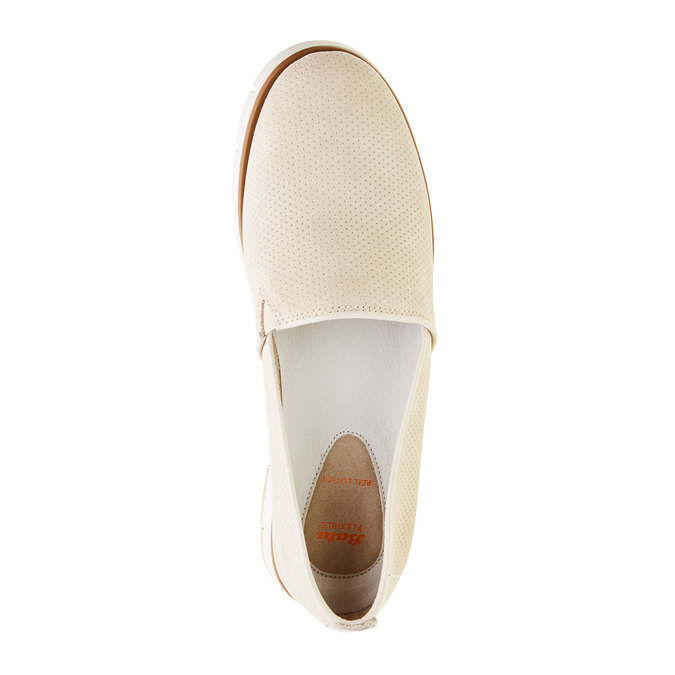 Kožené Slip-on boty s perforací flexible, béžová, 513-8200 - 19