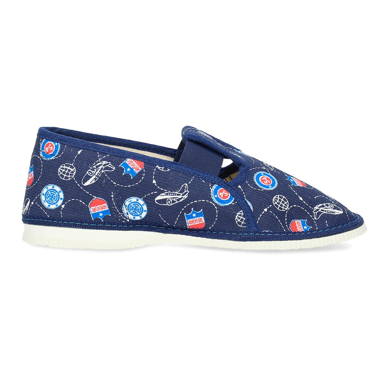 1a362b80bce Baťa Modré dětské přezůvky se vzorem - Domácí obuv