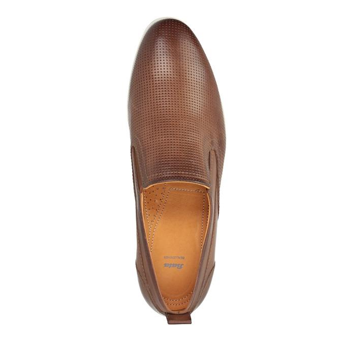 Pánské kožené Slip on boty bata, hnědá, 814-4148 - 19