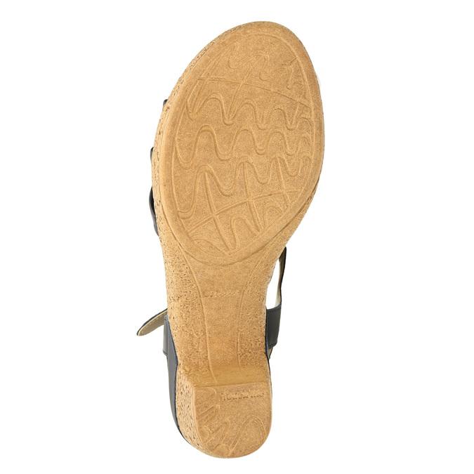 Kožené sandály na nízkém podpatku bata-touch-me, modrá, 666-9203 - 19