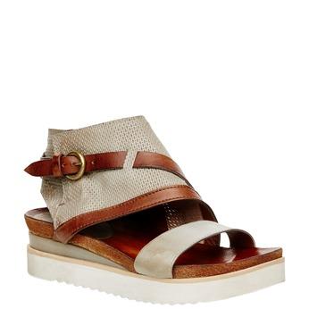 Dámské kožené sandály bata, béžová, hnědá, 566-1104 - 13