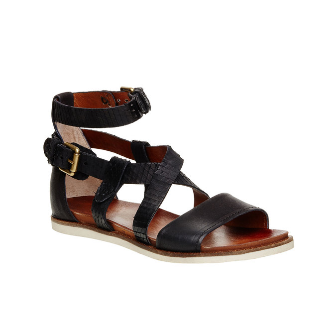 Dámské kožené sandály bata, černá, 566-6103 - 13
