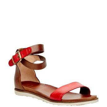Dámské kožené sandály s kotníčkovým páskem bata, červená, 566-5102 - 13
