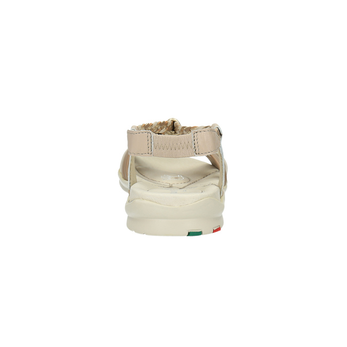 Kožené sandály s pletenými pásky, béžová, 2019-564-8353 - 17