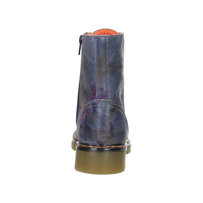 Kožená kotníčková obuv s květinovým motivem bata, modrá, 596-9609 - 17