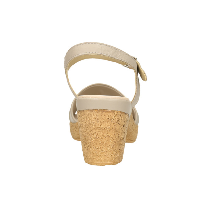 Kožené sandály na nízkém podpatku bata-touch-me, béžová, 666-8203 - 17