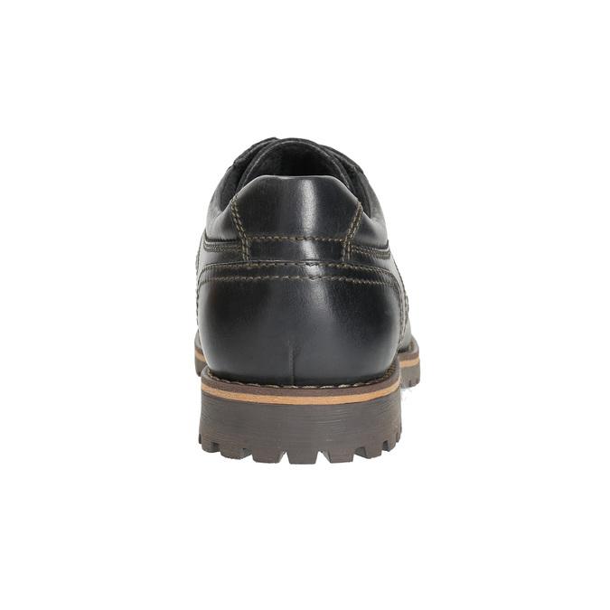 Kožené polobotky s prošitím na špici bata, černá, 826-6640 - 17