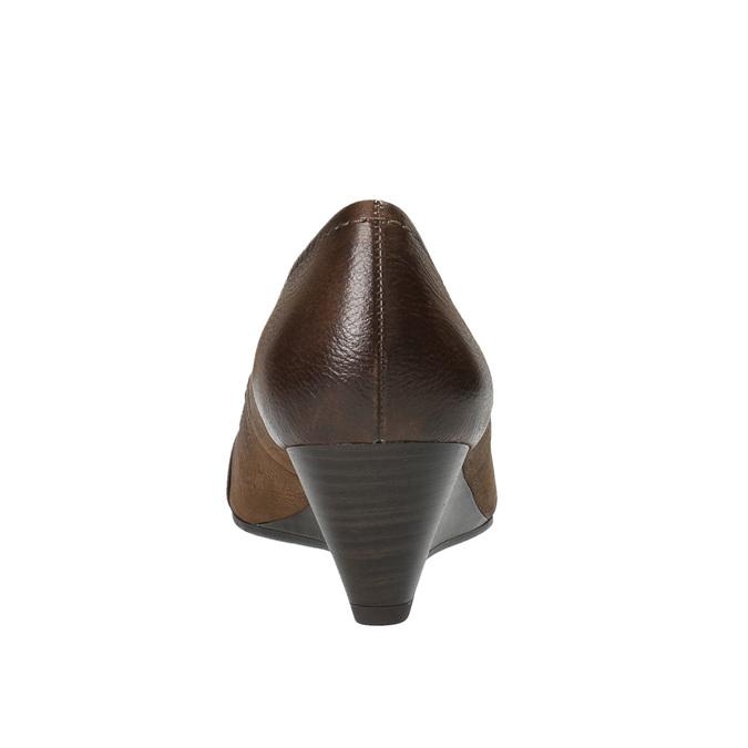 Kožené lodičky na klínovém podpatku bata, hnědá, 626-4603 - 17