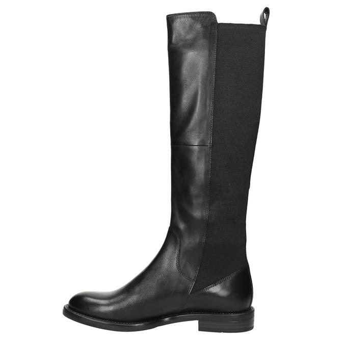 Dámské kožené kozačky bez zipu vagabond, černá, 594-6003 - 26