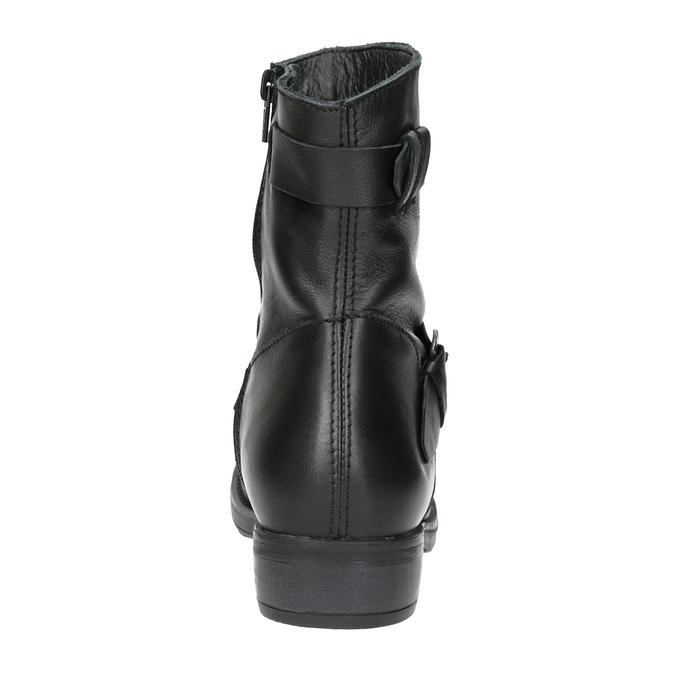 Dámské kožené kozačky s přezkou bata, černá, 596-6141 - 17