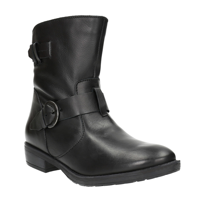 Dámské kožené kozačky s přezkou bata, černá, 596-6141 - 13