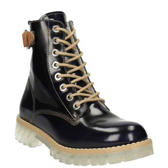 Kožená kotníčková obuv na průhledné podešvi weinbrenner, černá, 598-6602 - 13