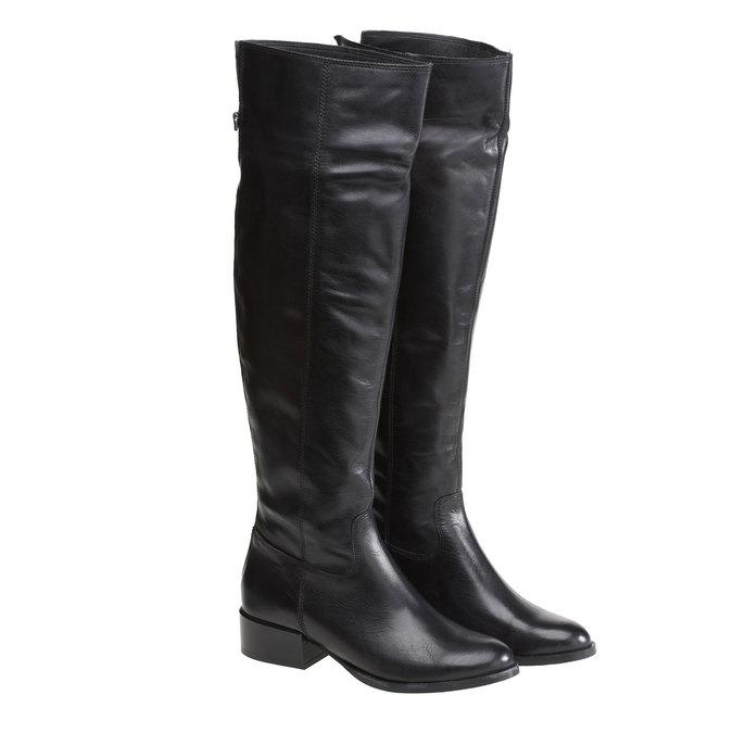 Vysoké kožené kozačky se zipem bata, 2019-594-6132 - 26