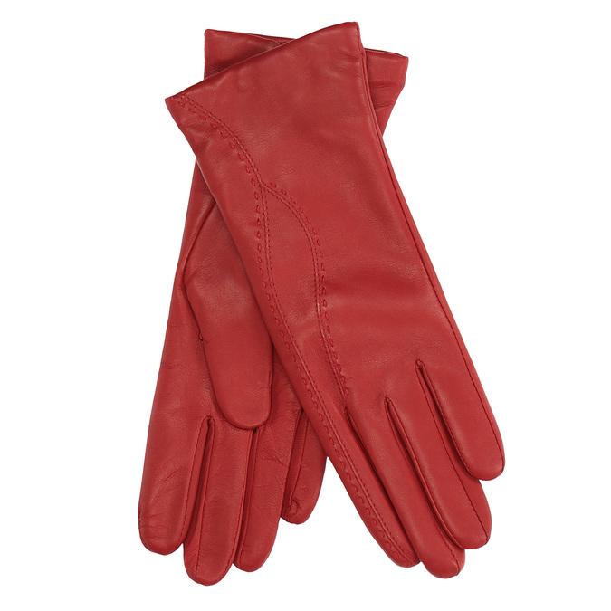 Dámské kožené rukavice fialové junek, červená, 924-5040 - 13