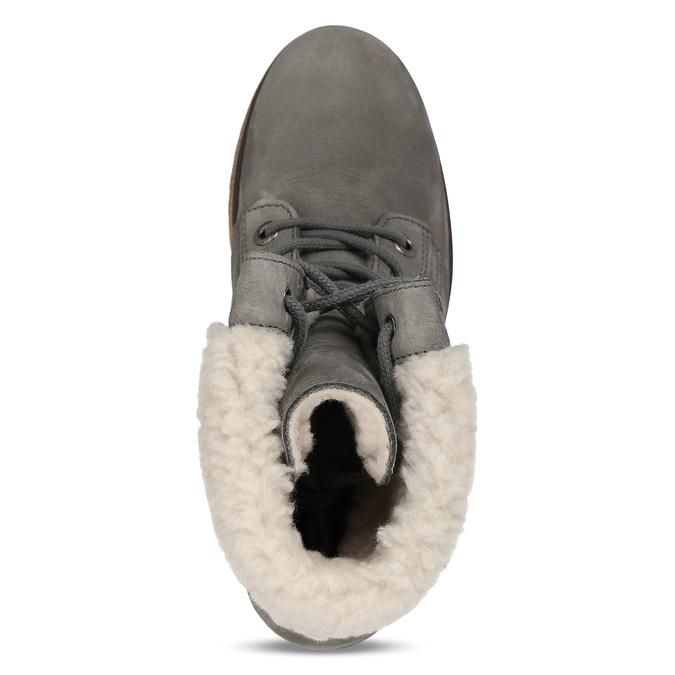 Šedá dámská kožená zimní obuv se zateplením weinbrenner, šedá, 696-2168 - 17