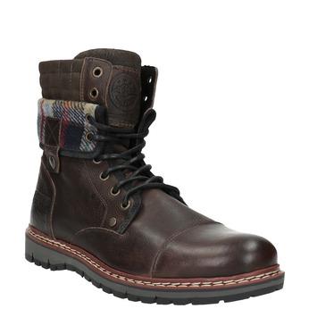 Kožená zimní obuv s károvaným detailem bata, hnědá, 896-4650 - 13