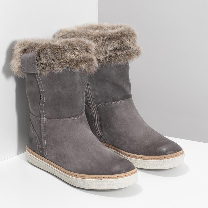 Kožená zimní obuv s kožíškem weinbrenner, šedá, 596-2633 - 26