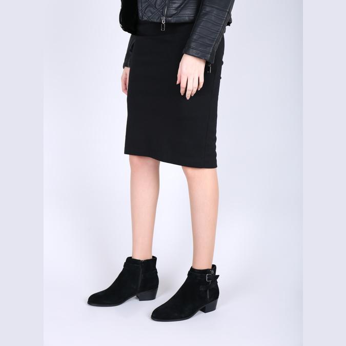 Kotníčková obuv z broušené kůže bata, černá, 693-6600 - 18