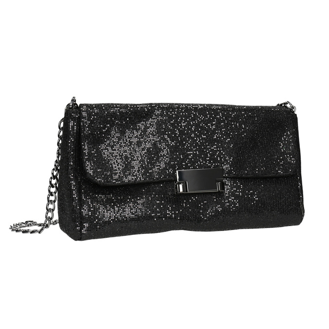 Třpytivé dámské psaníčko bata, černá, 969-6220 - 13