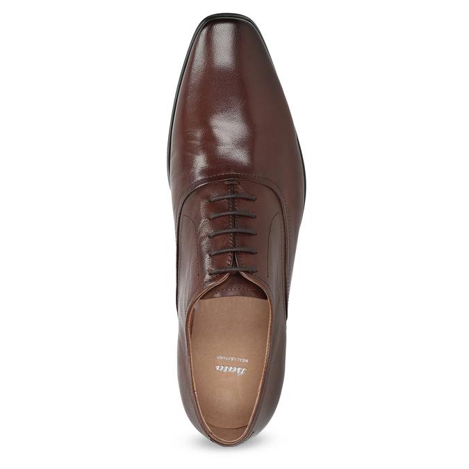 Hnědé kožené Oxford polobotky bata, hnědá, 826-3808 - 17