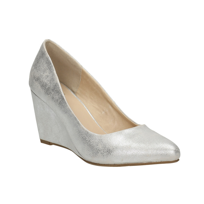 Stříbrné lodičky na klínovém podpatku bata, stříbrná, 721-1608 - 13