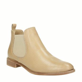 Kožené Chelsea boty s perforací bata, béžová, 596-3651 - 13