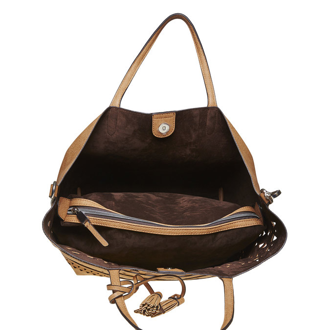 Hnědá kabelka s perforovaným vzorem bata, hnědá, 2020-961-2274 - 17