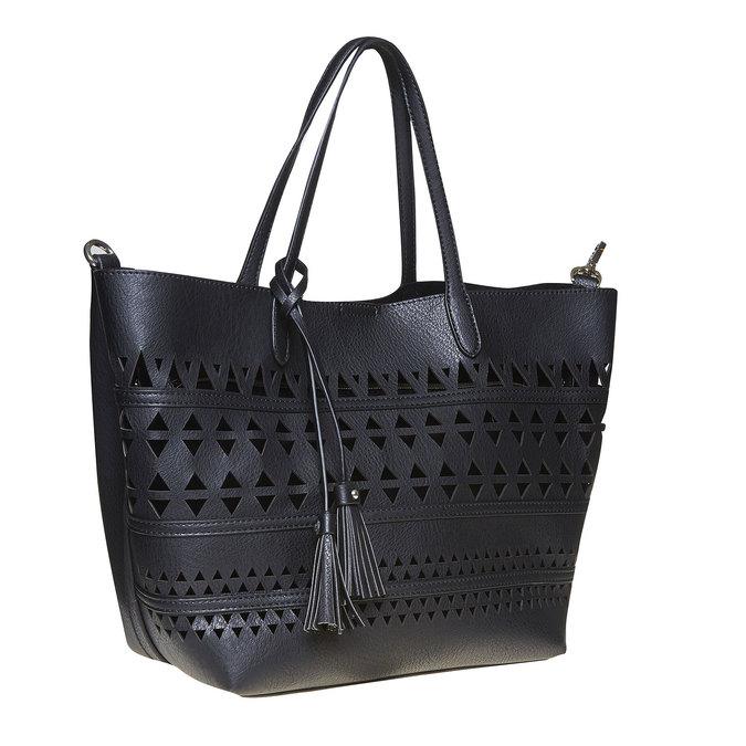 Dámská kabelka s perforací bata, černá, 961-6274 - 13