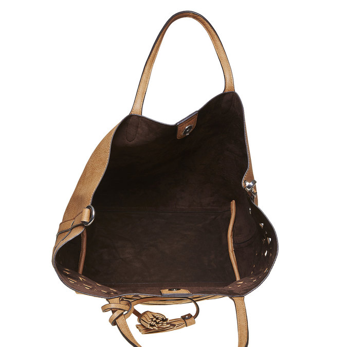 Hnědá kabelka s perforovaným vzorem bata, hnědá, 2020-961-2274 - 15