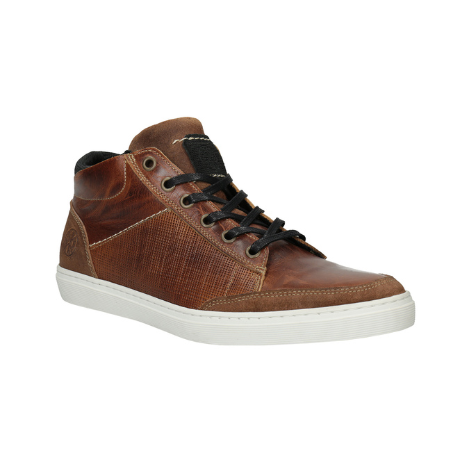 Kožené kotníčkové tenisky bata, hnědá, 844-3631 - 13