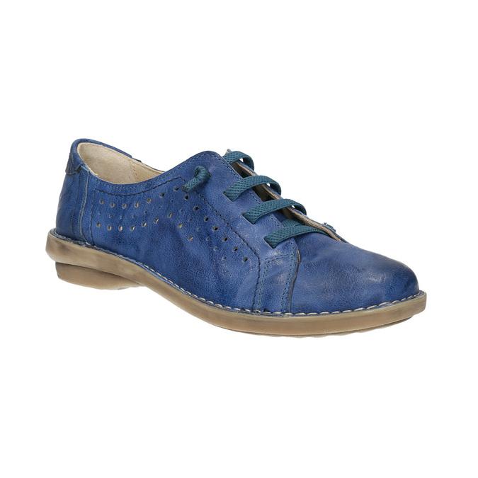 Modré kožené polobotky v ležérním stylu bata, modrá, 526-9624 - 13