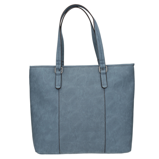 Modrá kabelka s perforovaným detailem bata, modrá, 961-9711 - 26