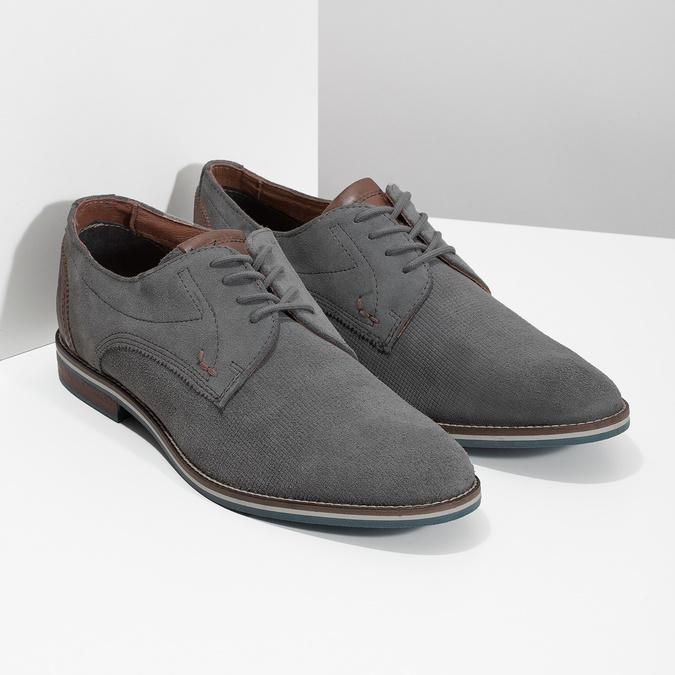 Ležérní kožené polobotky šedé bata, šedá, 823-2600 - 26