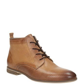 Kožená kotníčková obuv s perforací bata, hnědá, 596-4645 - 13