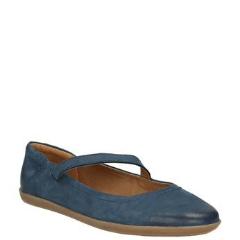 Dámské kožené baleríny s páskem bata, modrá, 526-9620 - 13