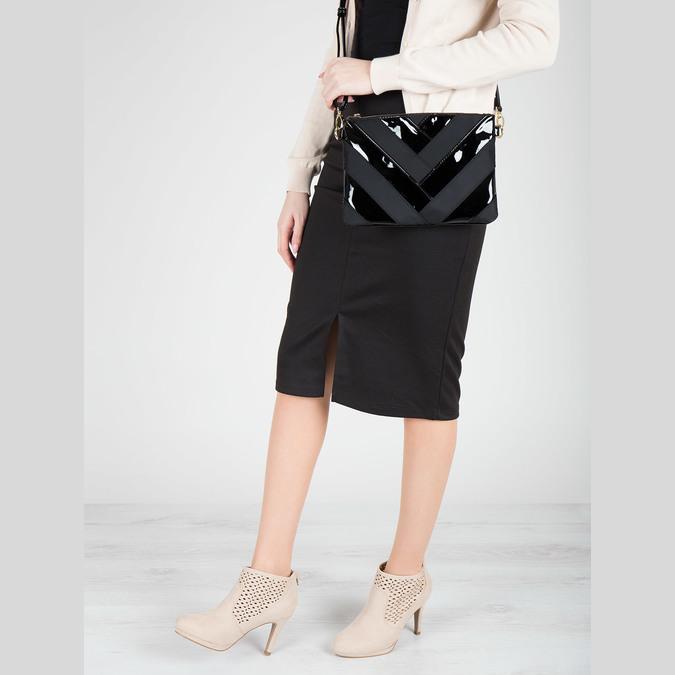Lakovaná dámská kabelka Crossbody bata, černá, 961-6683 - 17