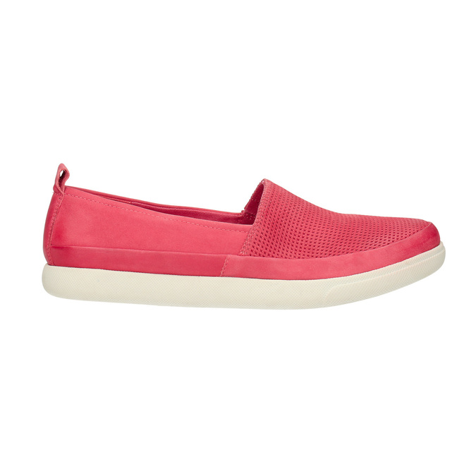 Kožená obuv s perforací bata-light, růžová, 516-5601 - 15
