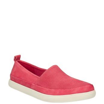 Kožená obuv s perforací bata, růžová, 516-5601 - 13