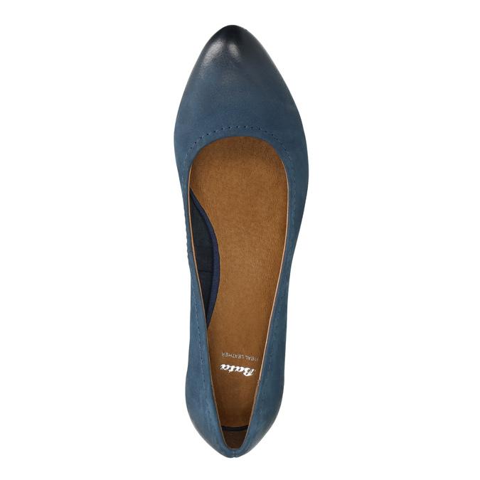 Dámské kožené lodičky bata, modrá, 626-9639 - 19