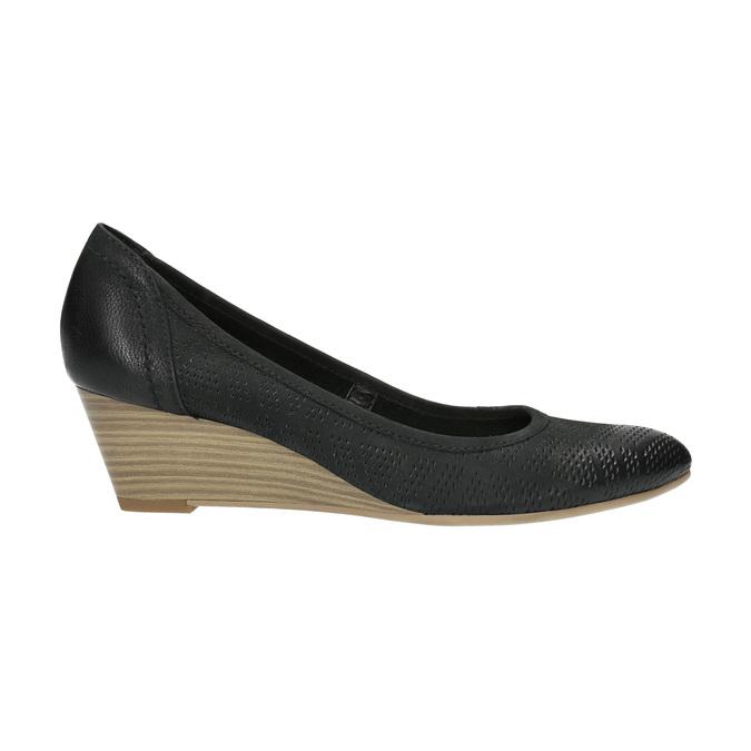 Kožené lodičky na klínovém podpatku bata, černá, 626-6638 - 15