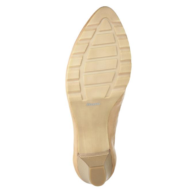 Kožené lodičky na nízkém podpatku bata, béžová, 626-8639 - 17