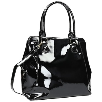 Černá lakovaná kabelka bata, černá, 961-6684 - 13